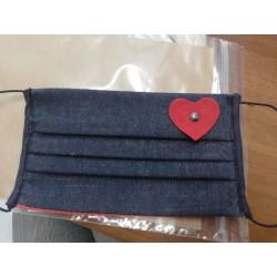 Mascherina Bimbo Jeans con Cuore Rosso - B31 - 2